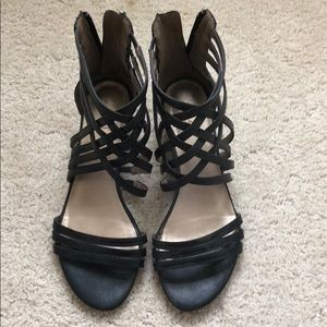 Black Wedges with Crossed Straps